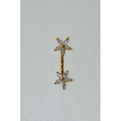 Strieborný piercing do pupka-pozlátený 0015