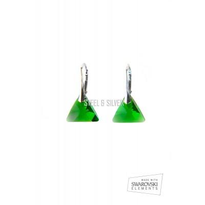 Strieborné nušnice so Swarovského krištáľmi 662816 mm Dark moss green