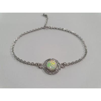 Strieborný náramok s bielym opálom 0018