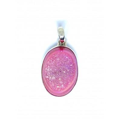 Rúžová achátová drúza strieborný prívesok 0015