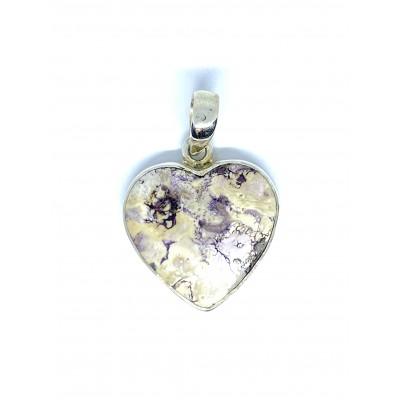 Tiffany kameň strieborný prívesok v tvare srdca 0017