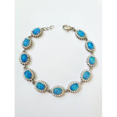 Strieborný náramok s modrým opálom 0001
