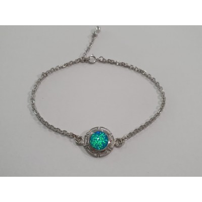 Strieborný náramok s modrým opálom 0017