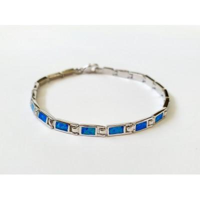 Strieborný náramok s modrým opálom 0007