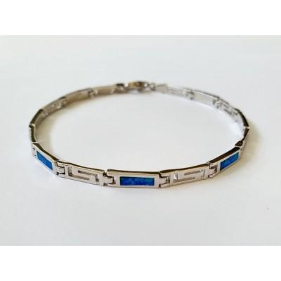 Strieborný náramok s modrým opálom 0005