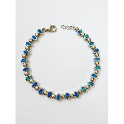 Strieborný náramok s modrým opálom 0016