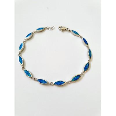 Strieborný náramok s modrým opálom 0013