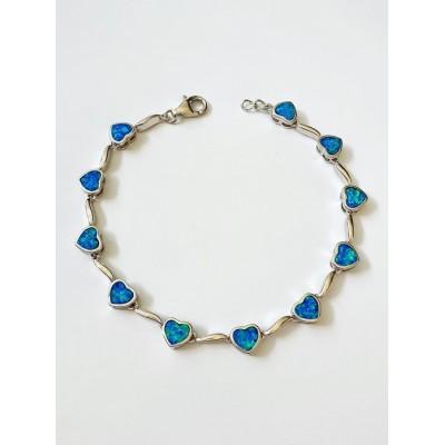 Strieborný náramok s modrým opálom 0012