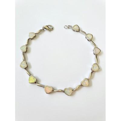 Strieborný náramok s bielym opálom 0011