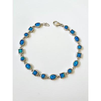 Strieborný náramok s modrým opálom 0010