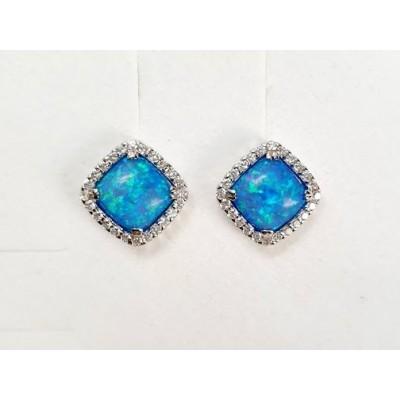 Strieborné náušnice s modrým opálom 0011