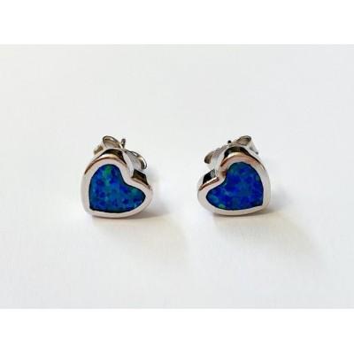 Strieborné náušnice s modrým opálom 0012