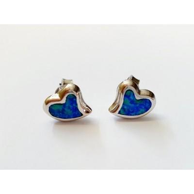 Strieborné náušnice s modrým opálom 0013
