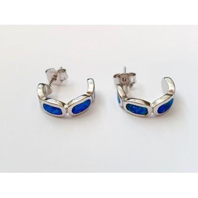 Strieborné náušnice s modrým opálom 0014