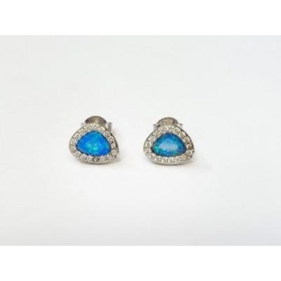 Strieborné náušnice s modrým opálom 0017