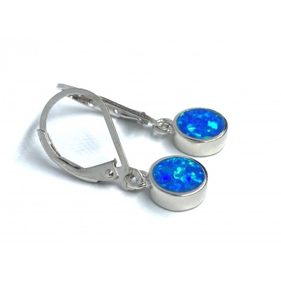 Strieborné náušnice s modrým opálom 0019