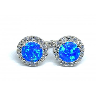 Strieborné náušnice s modrým opálom 0020