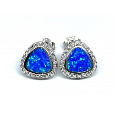 Strieborné náušnice s modrým opálom 0022