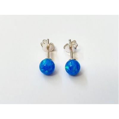 Strieborné náušnice s modrým opálom 0003