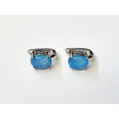 Strieborné náušnice s modrým opálom 0018