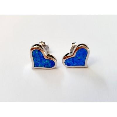 Strieborné náušnice s modrým opálom 0006