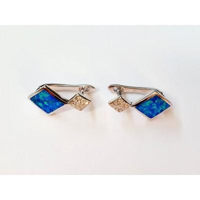 Strieborné náušnice s modrým opálom 0008