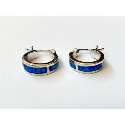 Strieborné náušnice s modrým opálom 0009