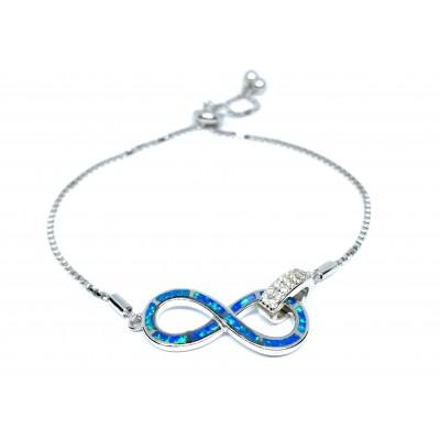 Strieborný náramok s modrým opálom 0023