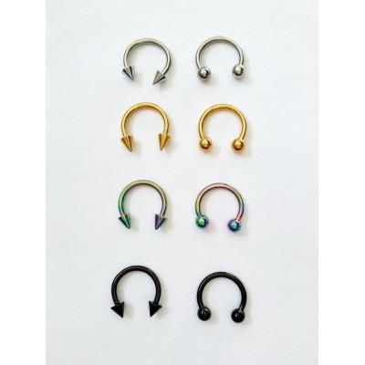 Piercing do bradavky,nosa,pery,ucha,podkovička 10mm-0008