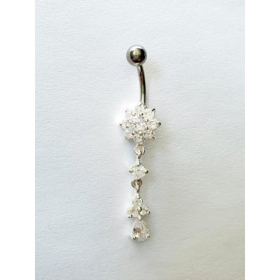 Strieborný piercing do pupka 0032