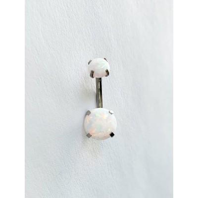 Piercing do pupka s bielym opálom 0037