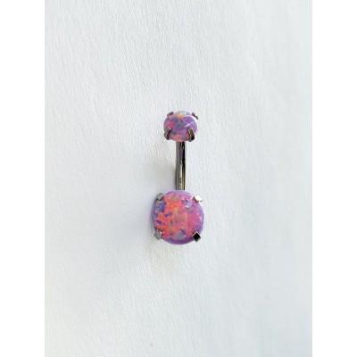 Piercing do pupka s fialovým opálom 0038