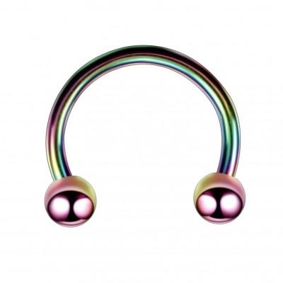 Oceľová podkova s guličkami - farebná 1,2 mm 0013