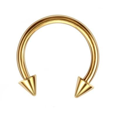 Oceľová podkova s hrotmi- zlatá 1,2 mm 0017