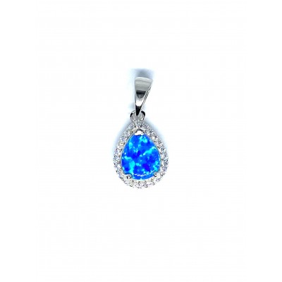 Strieborný prívesok s modrým opálom v tvare slzičky 0005