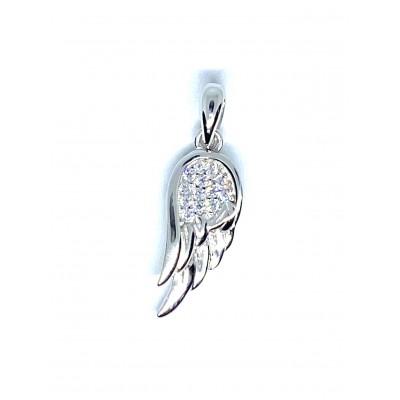 Strieborný prívesok anjelske krídlo so zirkónmi 0008