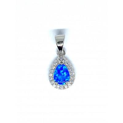 Strieborný prívesok s modrým opálom v tvare slzičky 0009