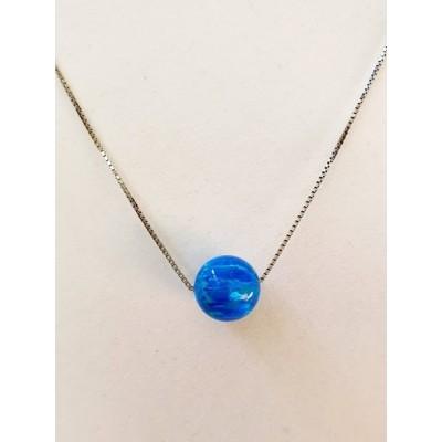 Strieborná retiazka s modrým opálom 0002