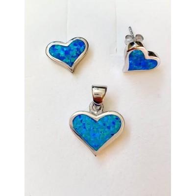 Strieborná súprava s modrým opálom 0004