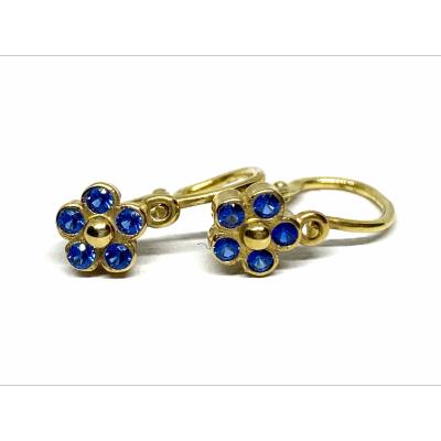 Detské zlaté náušnice v tvare kvietku s modrým zirkónom 0018